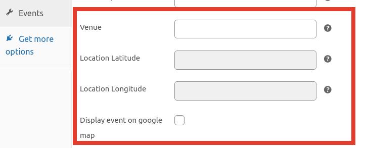 Adding events location