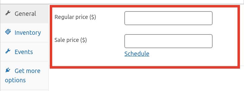 Adding events price