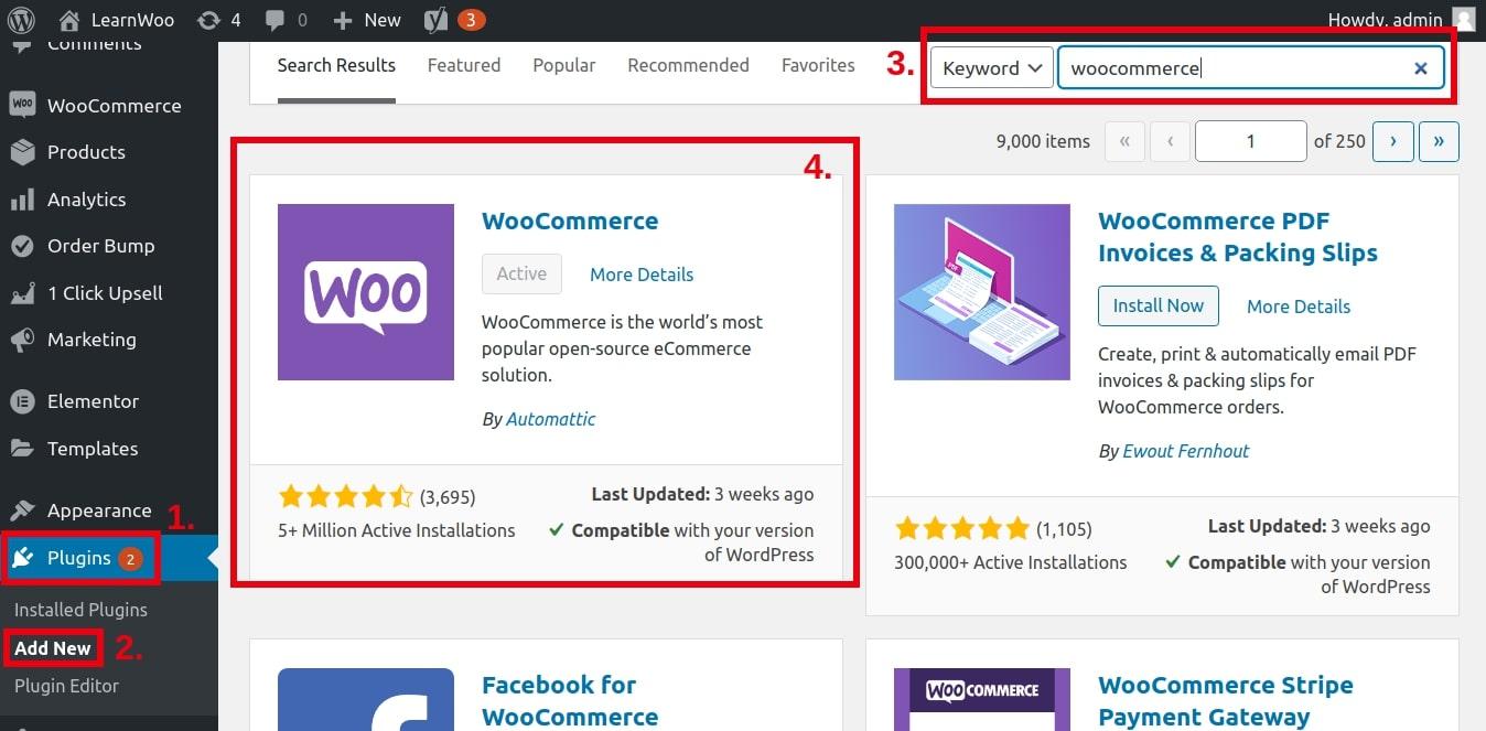 Installing WooCommerce to the WordPress