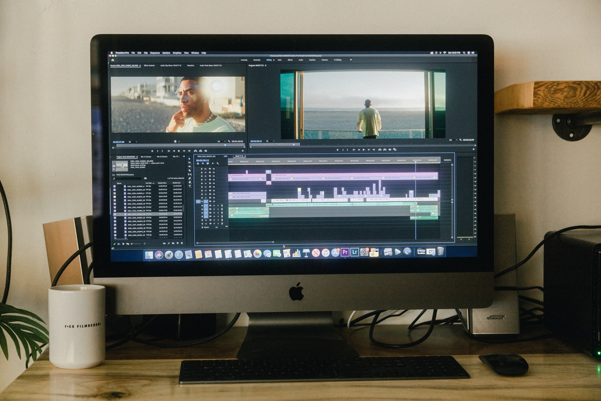 Video editor on pc screen